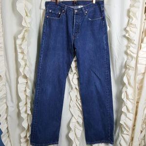 Levi's Strauss 501 button fly dark wash jeans